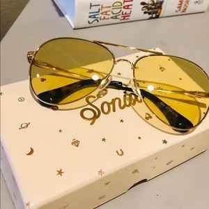 Sonix Lodi Sunglasses, Aviator w/ Yellow Tint